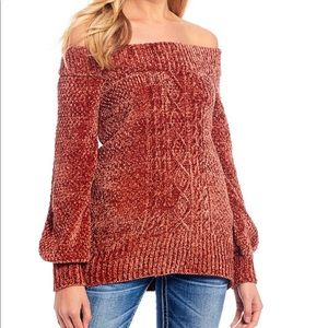 Miss Me Sweaters - Off The Shoulder Chenille Cable Knit Sweater!!🧡
